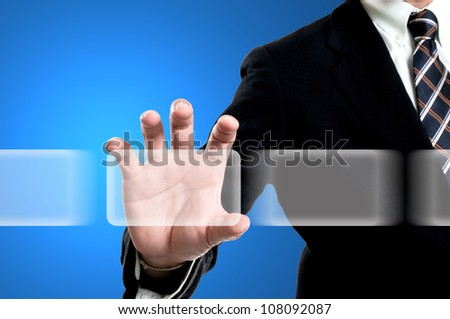 Businessman select bottom icon for do something - stock photo