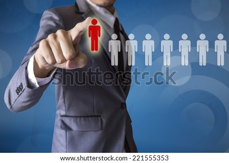 Businessman select leader career of business conceptual - stock photo