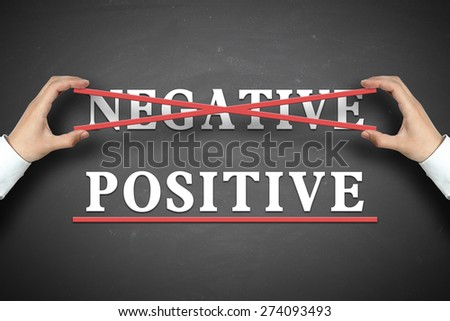 Businessman selects the Positive concept on the blackboard. - stock photo