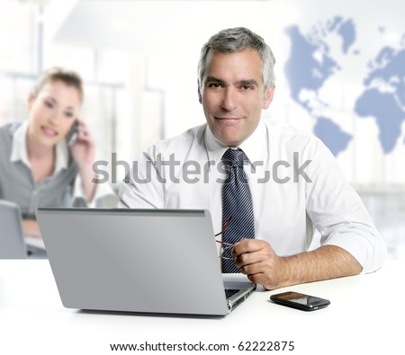 businessman senior expertise teamwork world map global communication [Photo Illustration] - stock photo