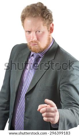 businessman shakes his finger - stock photo