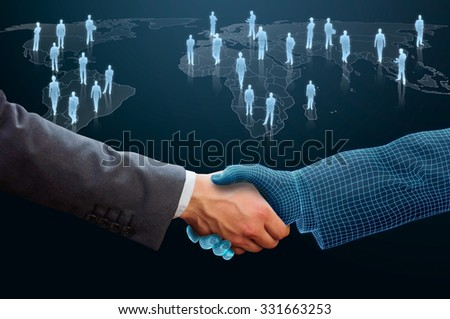 businessman shaking hand with 3d wireframe  hand - stock photo
