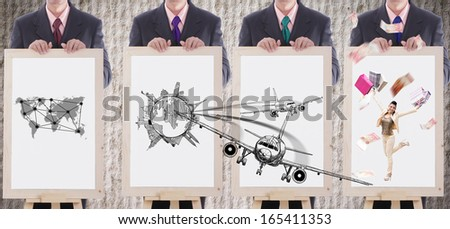businessman show case travel and shopping concept with white board. - stock photo