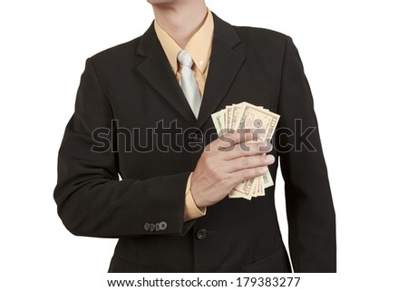 Businessman show cash in dollar isolated on white background - stock photo