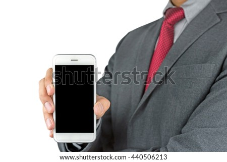 Businessman showing a blank phone screen for copy space isolated on white background with clipping path - stock photo
