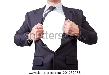 businessman showing a super hero suit underneath his suit isolate on white background with clipping path  - stock photo