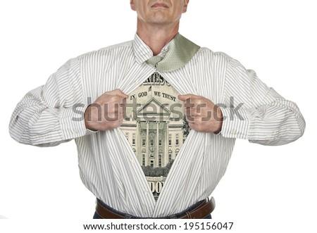 Businessman showing a superhero twenty dollar bill suit underneath his shirt, clipping path for blank t-shirt - stock photo