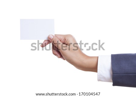 Businessman showing and handing a blank business card, isolated on white background. with using path - stock photo