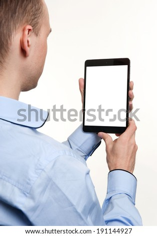 Businessman Showing Blank Digital Tablet - stock photo
