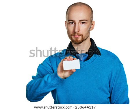 Businessman showing business card isolated on white background. Business people. The concept of attracting customers. - stock photo
