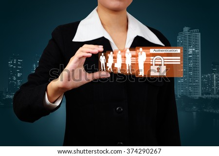 Businessman showing concept of business online security on virtual screen. - stock photo