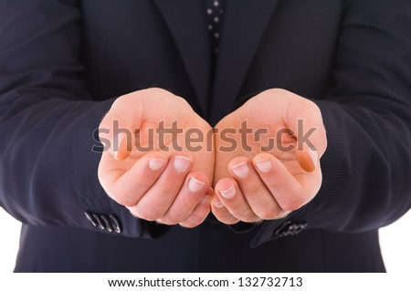 Businessman showing empty hands. - stock photo