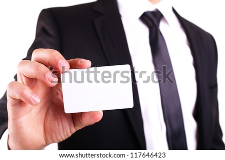 Businessman showing his business card. You can just add your text there. - stock photo