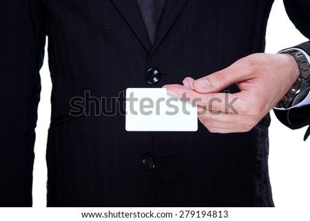 Businessman showing his businesscard - stock photo