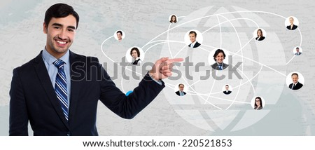 Businessman showing his connected friends in worldwide - stock photo