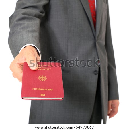 Businessman showing his german passport. All on white background. - stock photo