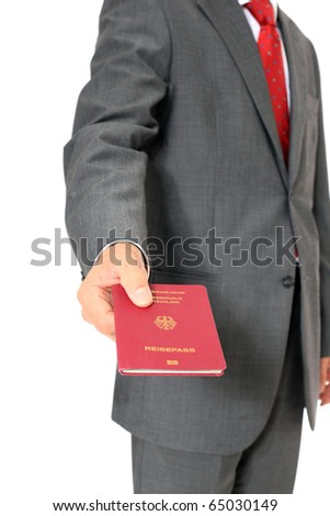 Businessman showing his german passport. All on white background - stock photo