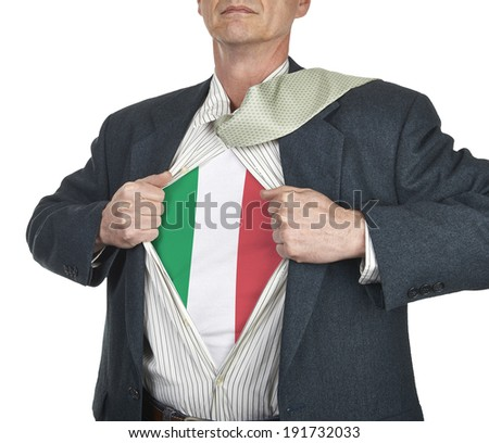 Businessman showing Italy flag superhero suit underneath his shirt standing against white background - stock photo
