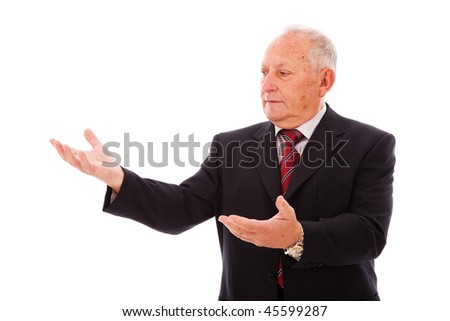businessman showing something with his hands (isolated on white) - stock photo