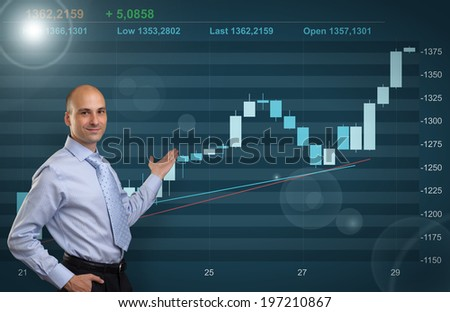 Businessman showing Stock market graph - stock photo