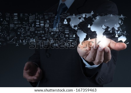 businessman showing the world 3d and  social network structure as concept - stock photo