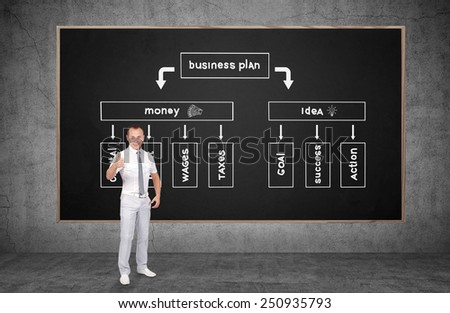 businessman showing thumb up and drawing business plan on  chalk board - stock photo