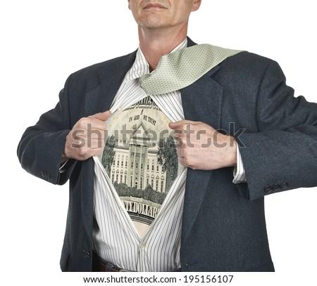Businessman showing twenty dollar bill superhero suit underneath his shirt standing against white background - stock photo