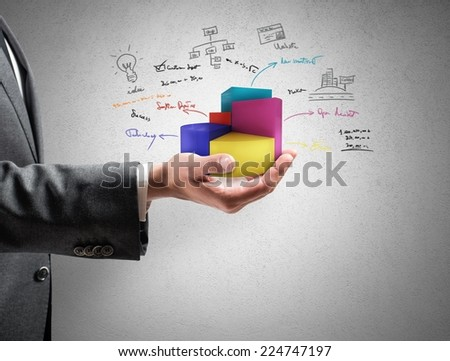 Businessman shows successful statistics of a company - stock photo