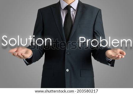 businessman shows two possibilities solution or problem - stock photo
