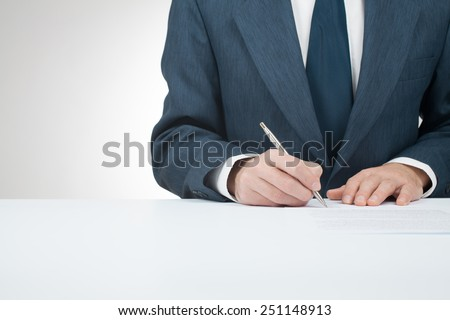 Businessman sign contract, agreement, mortgage, insurance or another document