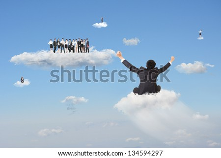 Businessman sit on cloud and going to join the team in cloudy sky. Concept about cloud business, team work, or positivity. - stock photo
