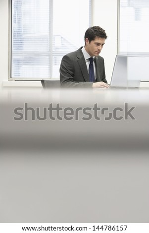 Businessman sitting at desk in office and using laptop - stock photo