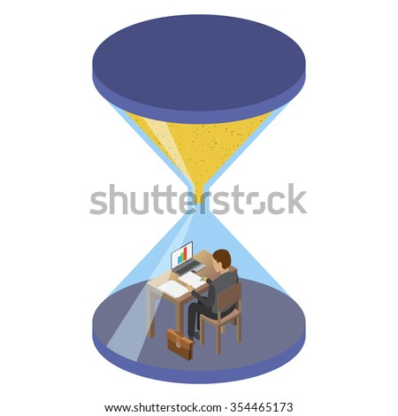 Businessman sitting at his desk in the hourglass. Time management abstract illustration, isometric style. Time management concept. Isolated on  white background - stock photo