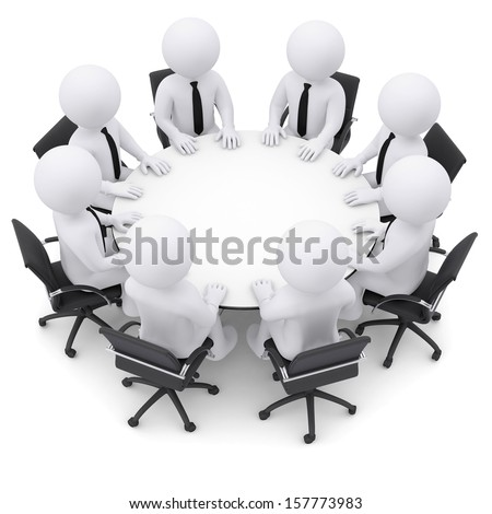 Businessman sitting at the table. Isolated render on a white background - stock photo