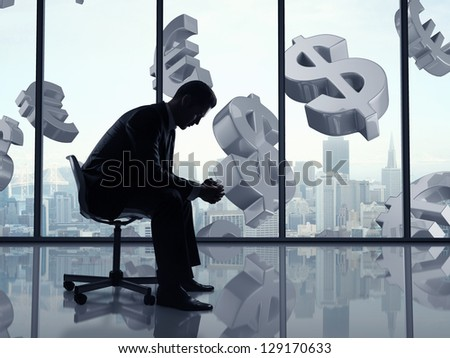 businessman sitting in office and dollar symbol - stock photo