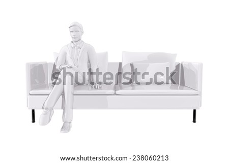 Businessman sitting on a couch - stock photo