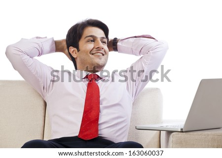 Businessman sitting on a couch and looking cheerful in front of a laptop - stock photo