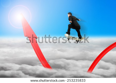 Businessman skateboarding on red arrow pointing up with sunlight cloudscape background - stock photo