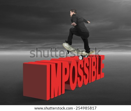 Businessman skating on money skateboard  across red impossible text with cloudy sky background - stock photo