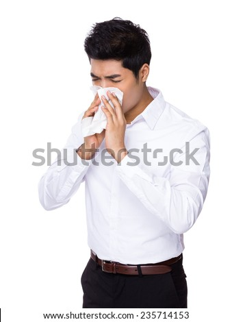 Businessman sneeze - stock photo
