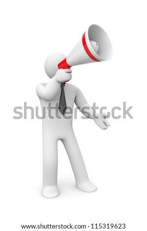 Businessman speaks in megaphone - stock photo