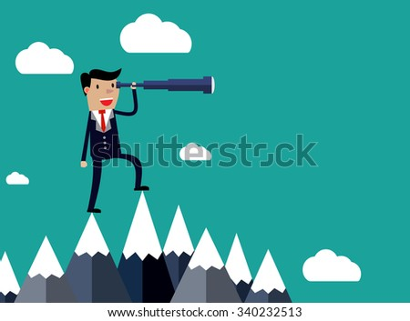 Businessman stand on top of mountain using telescope looking for success, opportunities, future business trends. Vision concept. Cartoon Illustration.  Raster version.  - stock photo