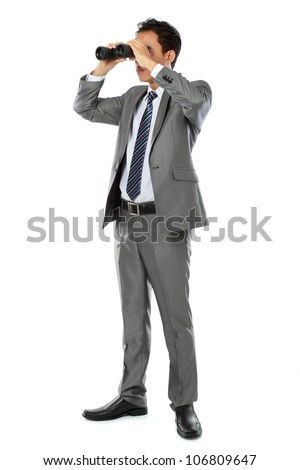 businessman standing and holding binocular isolated over white background - stock photo