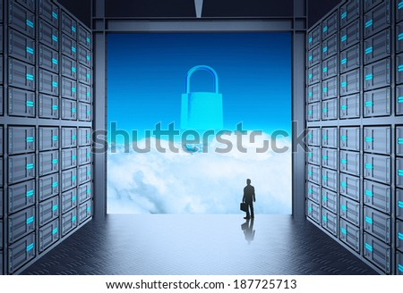 businessman standing at 3d network server room and padlock icon on cloud outside as concept  - stock photo