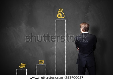 businessman standing in front of a blackboard with a chart about different types of wages - stock photo
