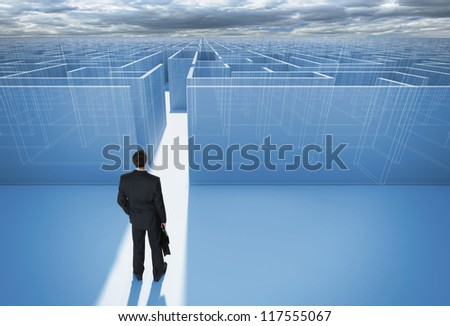"Businessman standing in front of the entrance to the maze. Make a difficult decision. Achieving the goal. Without the sign ""Welcome"" on the wall. Wide angle. Blueprint. Encounter difficulties - stock photo"