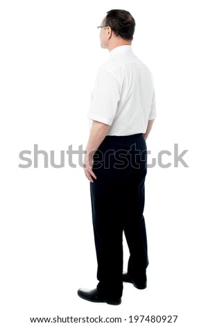 businessman standing isolated on white background - stock photo