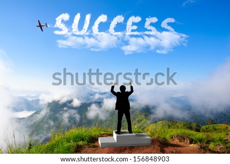 Businessman standing on a winner podium at the mountains, Success in business concept - stock photo