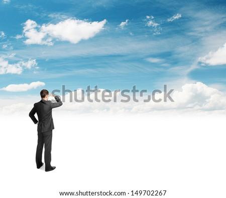 businessman standing on beautifull nature background - stock photo