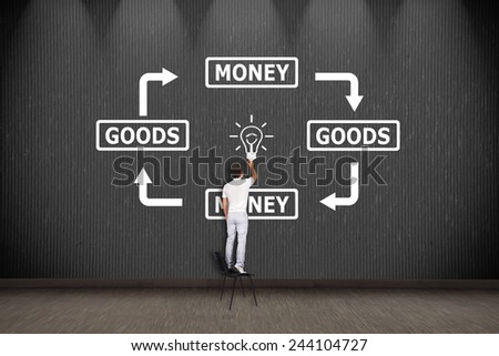 businessman standing on chair and drawing goods and money concept - stock photo